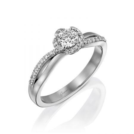 טבעת אירוסין ראש פרח זהב לבן
