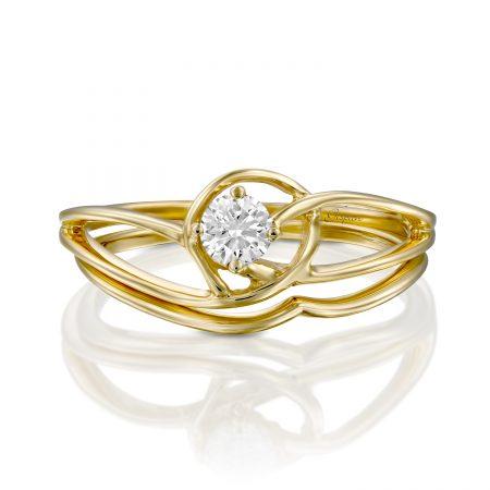 טבעת אירוסין מעוקלת זהב צהוב
