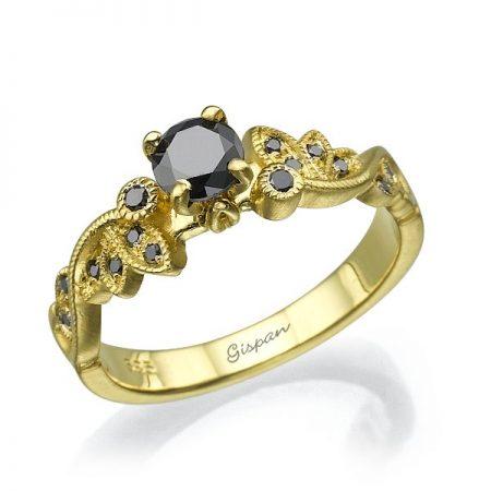 טבעת אירוסין עם יהלומים שחורים