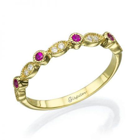 טבעת זהב צהוב בשילוב יהלומים לבנים ורובי
