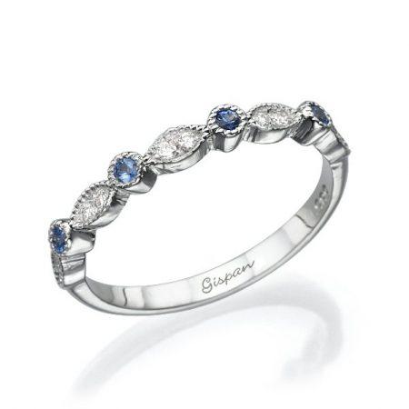 טבעת יהלומים זהב לבן יהלומים לבנים וספיר
