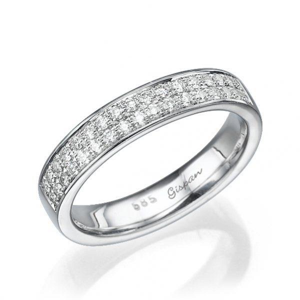 טבעת יהלומים זהב לבן שתי שורות