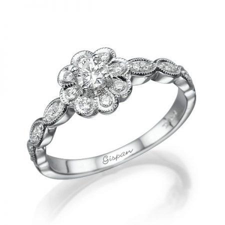 טבעת פרח זהב לבן ויהלומים