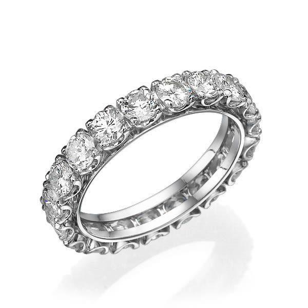 טבעת יוקרתית משובצת יהלומים זהב לבן 18K