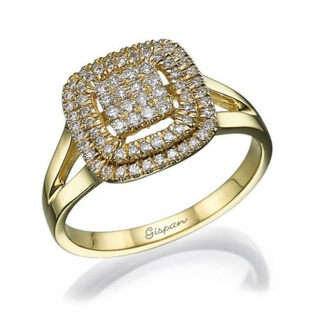 טבעת יהלומים יוקרתית זהב צהוב 14 קראט