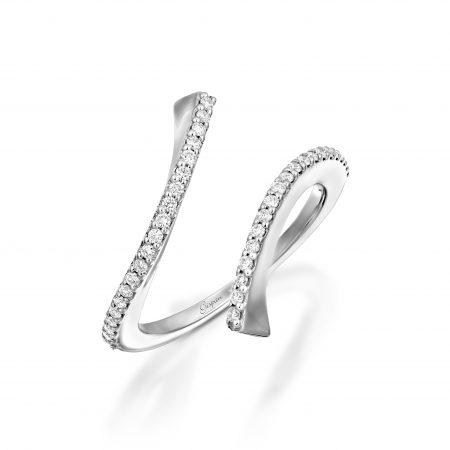 טבעת יהלומים פיתול זהב לבן ויהלומים