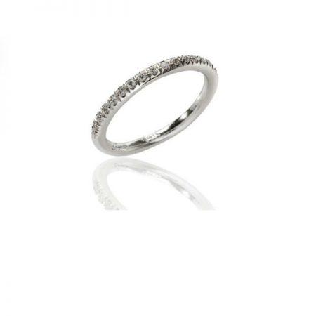 טבעת אירוסין שורה יהלומים זהב לבן