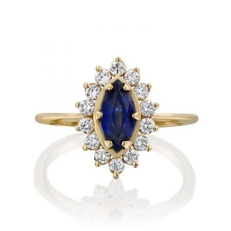 טבעת דיאנה ספיר כחולה מרקיזה 1 קראט