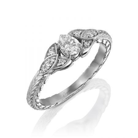 טבעת אירוסין 3 עלים לבן עם יהלום טיפה