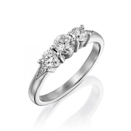 טבעת אירוסין 3 יהלומים זהב לבן 14 קראט