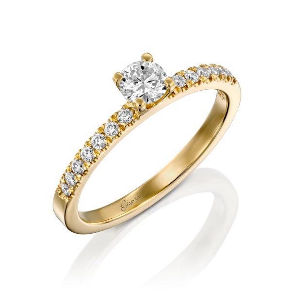 טבעת אירוסין סוליטר זהב צהוב עם יהלום מרכזי