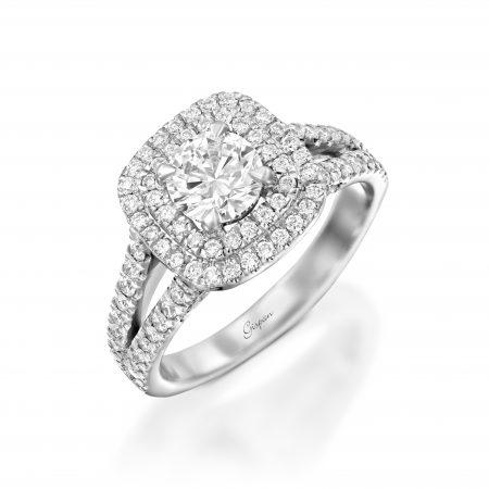טבעת אירוסין ראש מרובע זהב לבן ויהלום מרכזי