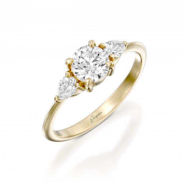 טבעת אירוסין טיפות. זהב צהוב 14K
