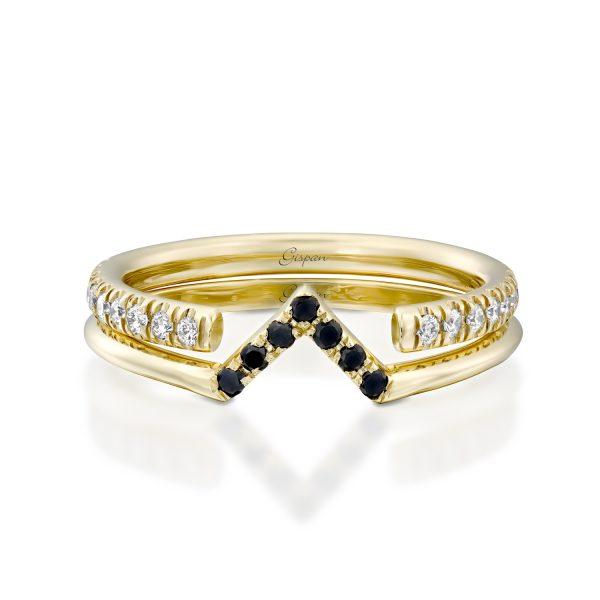טבעת יהלומים מעוצבת במיוחד צורת V