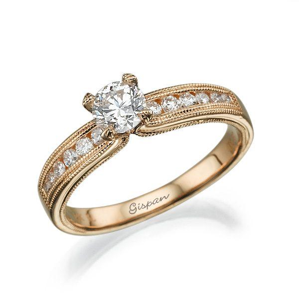 טבעת אירוסין מלכותית מזהב אדום