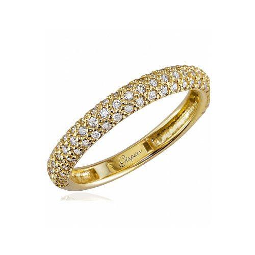 טבעת אירוסין עם שורות יהלומים