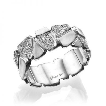 טבעת נישואין מסגוננת דגם עבה זהב לבן עם נצנץ