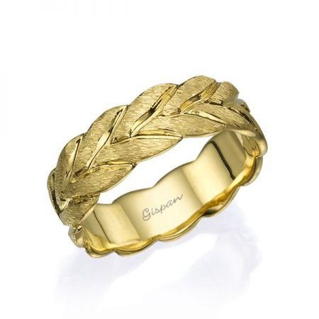 טבעת נישואין עלים זהב
