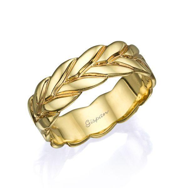 טבעת נישואין עלים זהב צהוב מבריק