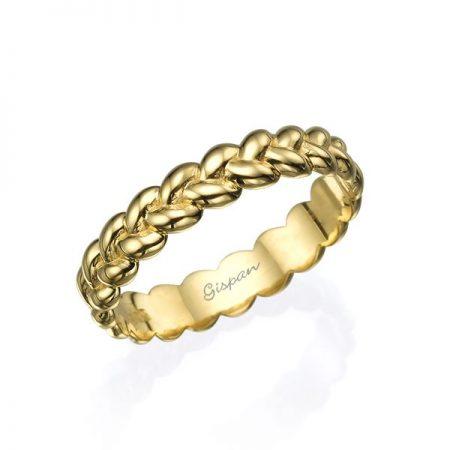 טבעת נישואין צמה זהב צהוב 14 קראט