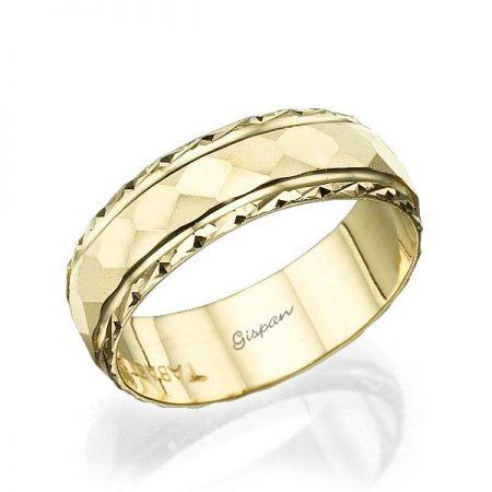 טבעת נישואין זהב צהוב מט 14K