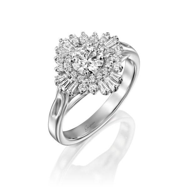 טבעת אירוסין סגנון וינטאג' זהב לבן