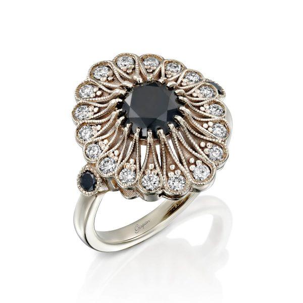 טבעת אירוסין וינטג' זהב לבן טבעי