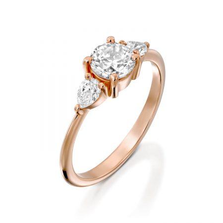 טבעת אירוסין טיפות זהב אדום